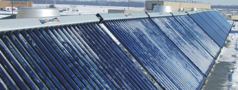 FROSTED OVER BUT STILL PRODUCING – Chillicothe, Ohio:  On a bitter cold January day, 15 SunQuest 250 frost-covered solar thermal panels generated over 150 degree output temperatures, reducing the boiler's load by 75%.